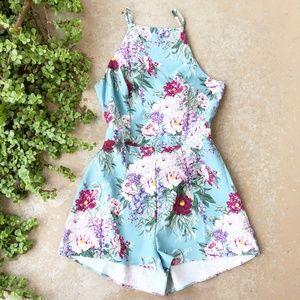 Show Me Your MuMu Afton Tie Blue Floral Romper
